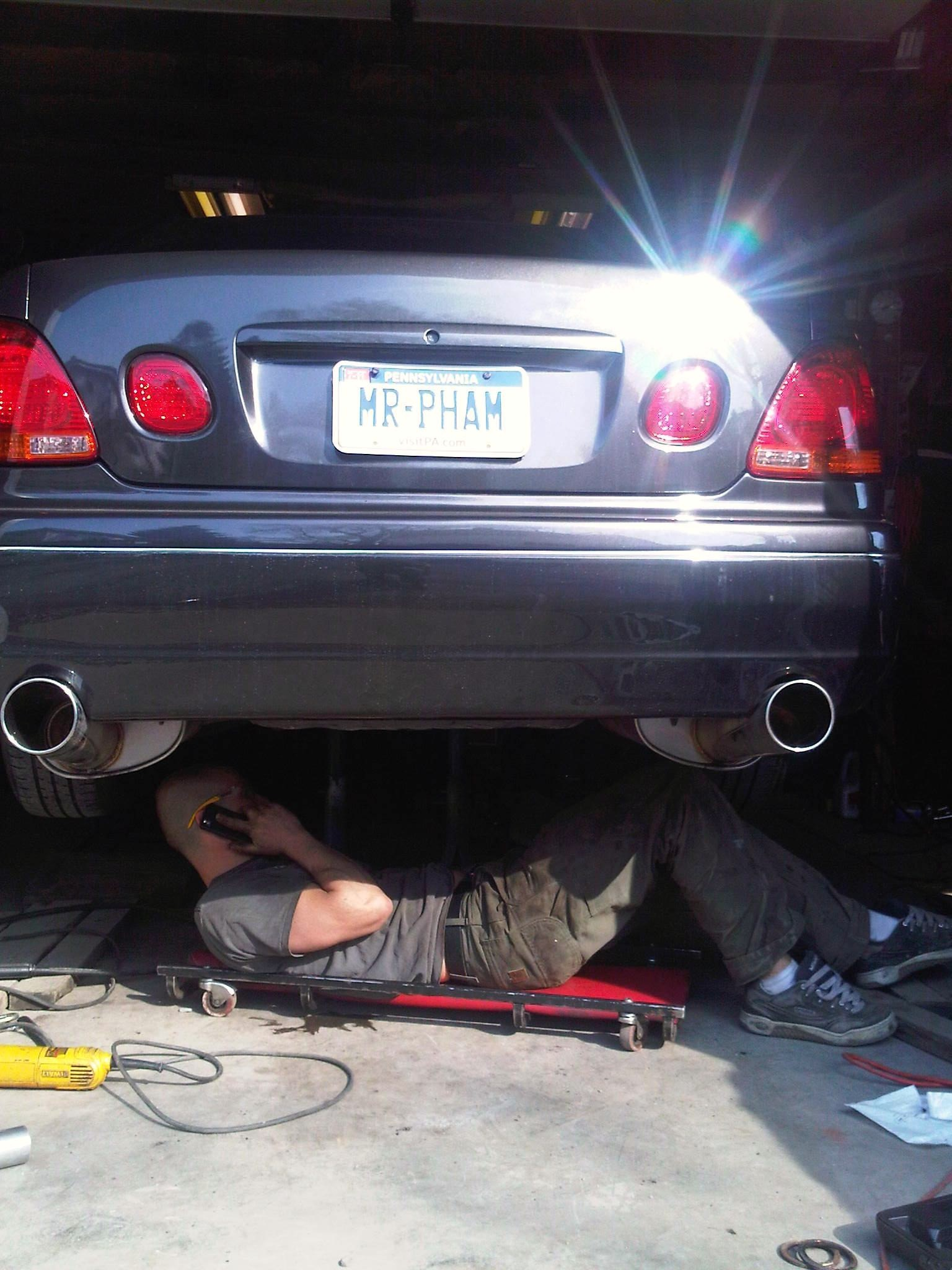 going in on his Lexus GS.